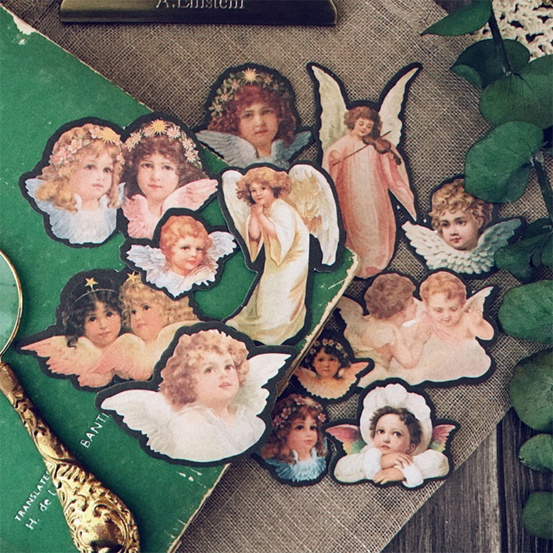Junk Journal Vintage Little Angel Stickers DIY Scrapbooking Album Mobile Phone Diary Happy Plan Decorative Stickers