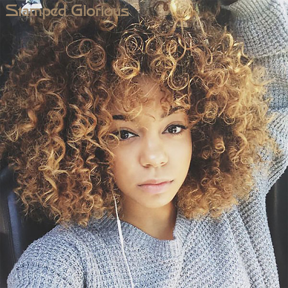 Stamped Glorious Synthetic Wig Short Afro Kinky Curly Brown Hair For Black Women 14Inches Wigs With Bangs Resistant Hair