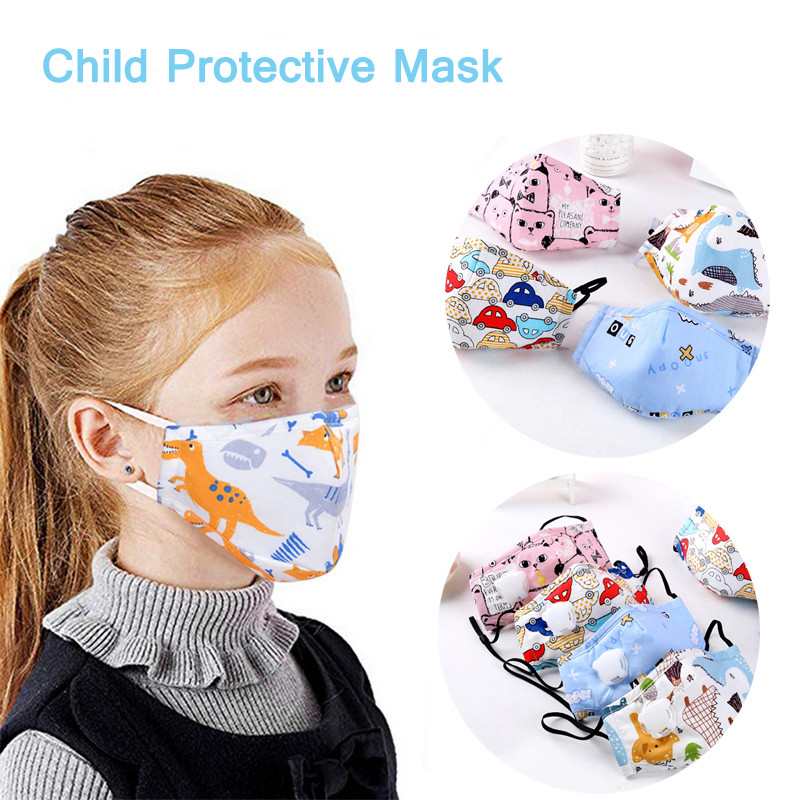 PM2.5 Boy Girl Cotton Kid Smoke Valved Mask Cartoon Children Breath Valve Anti Haze Breathable Mask Respirator Face Masks