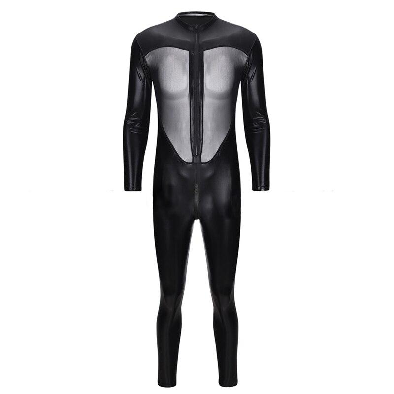 Plus Size Man Latex Lingerie Sex Open Crotch Teddies Bodysuits Gay Men See Through  Jumpsuit Night Club Bar Stage Uniforms Male