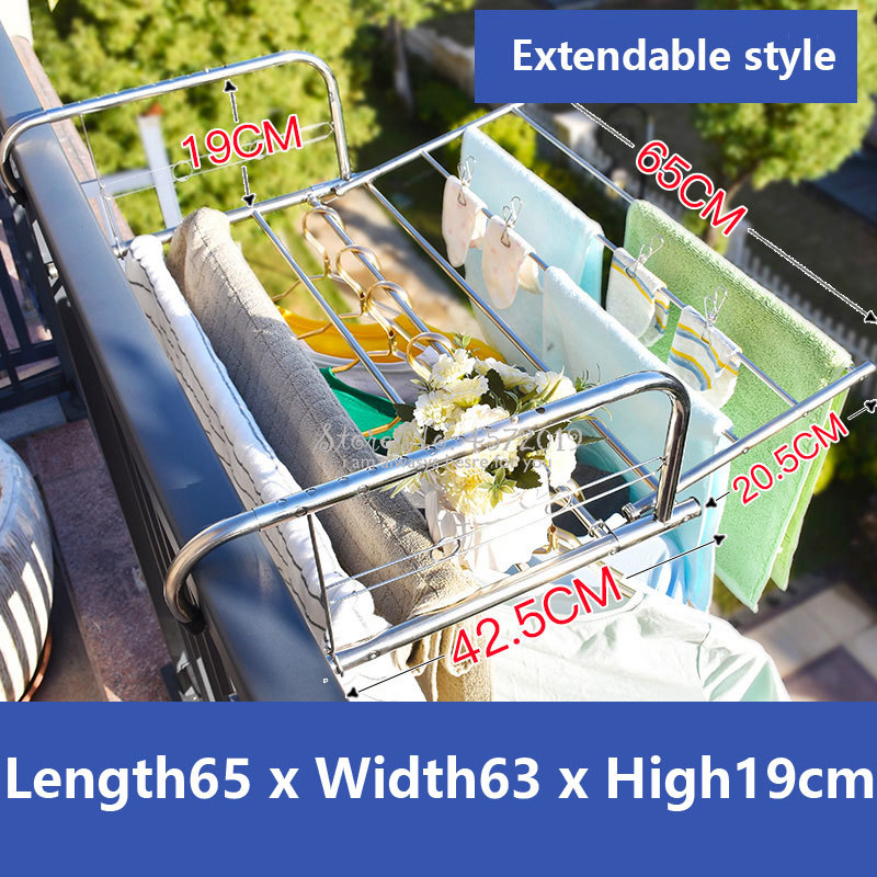 Extendable Stainless Steel Folding Clothing Rack Hanging Drying Rack Balcony Drying Shelf Towel Quilt Stand Baby Hangers