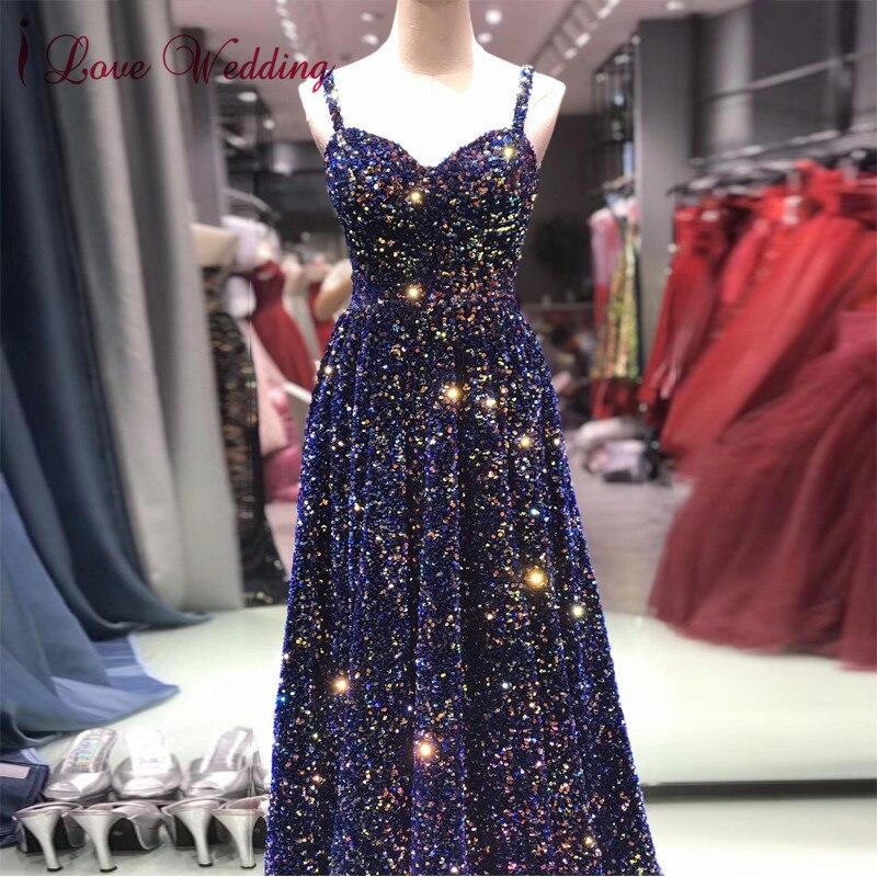 Nouveauté 2020 robes de soirée formelles longues bretelles Spaghetti sur mesure une ligne paillettes longueur de plancher robe de soirée