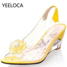 YEELOCA 6.5CM kliny sandały damskie letnie słodkie kwiaty przezroczyste z wystającym palcem sandały na obcasie Fishmouth czerwone sandały Plus rozmiar 33 43