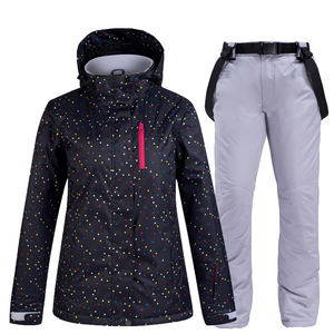 Image 5 - black and white Women Snow Wear snowboarding suit set waterproof windproof breathable Winter outdoor Ski jacket + bibs Snow pant