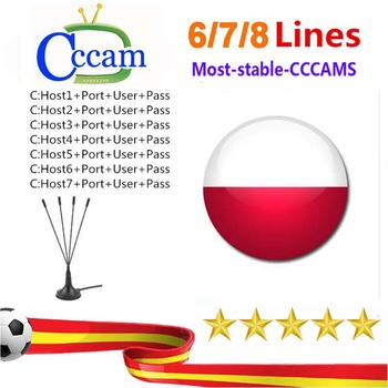 Special for Poland Europe 7 lines HD AV Cable for Satellite Receiver Cccam lines of 1 year DVB-S2 Europe clines for Free Sat V nieuwkoop europe кашпо raindrop 54х51 см 6rdpbe229 nieuwkoop europe