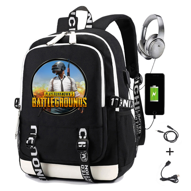Playerunknown's Battlegrounds Printing PUBG Men Backpack Usb Charging Laptop School Bags Oxford Softback Laptop Travel Backpack