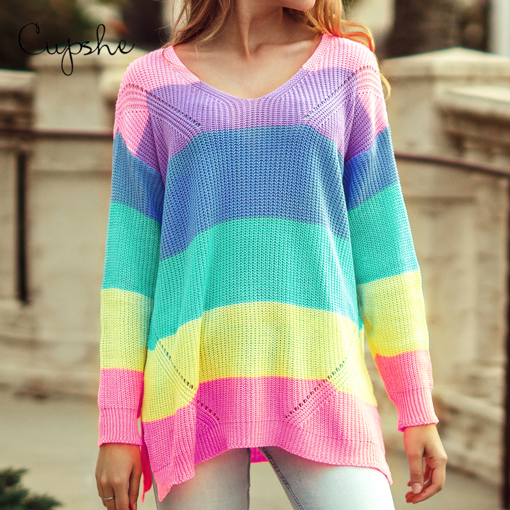 CUPSHE Rainbow Colorblock Loose Oversized Sweater Women Casual Long Sleeve Knit Pullover Autumn Winter Female Knitwear Jumper