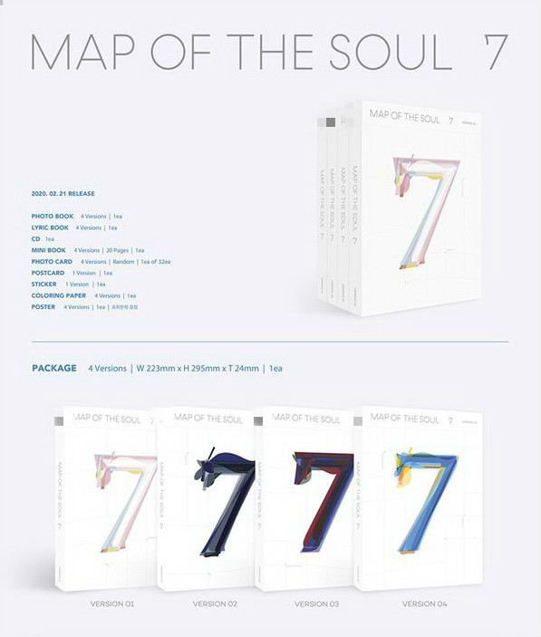 [MYKPOP]~ 2020 New ~100% Official  4 Versions for Choice~ MAP OF THE SOUL 7 ~ Album CD Set~  KPOP Fans Collection  SA20022201