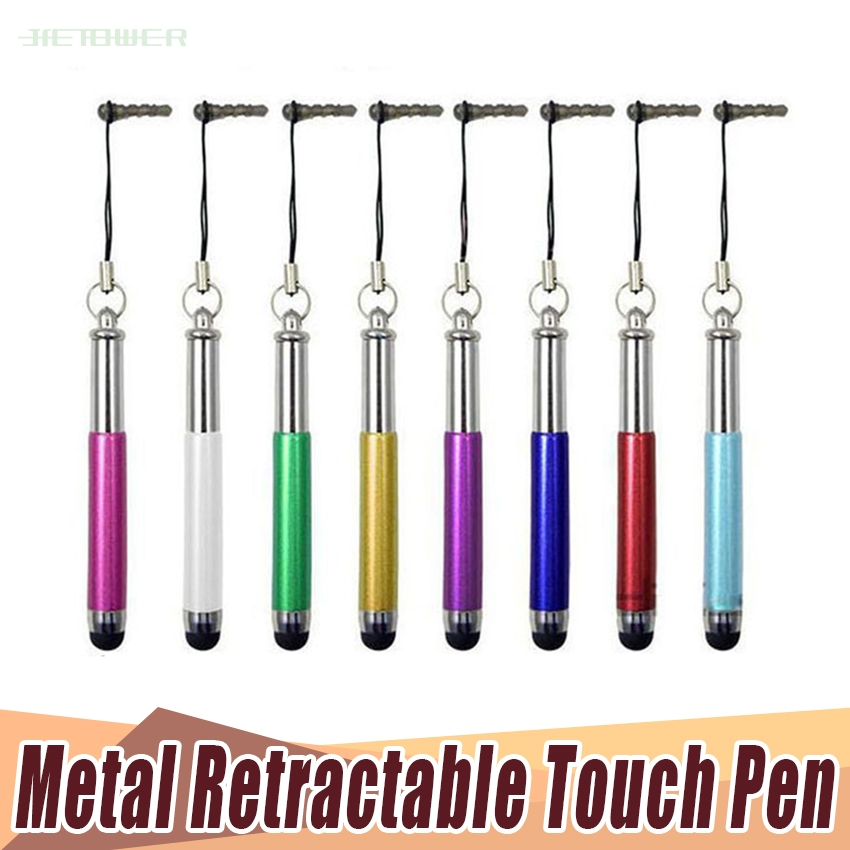 300pcs/lot Retractable Capacitive Stylus Touch Screen Teblet Pen For IPhone For Tablet PC Mobile Phone