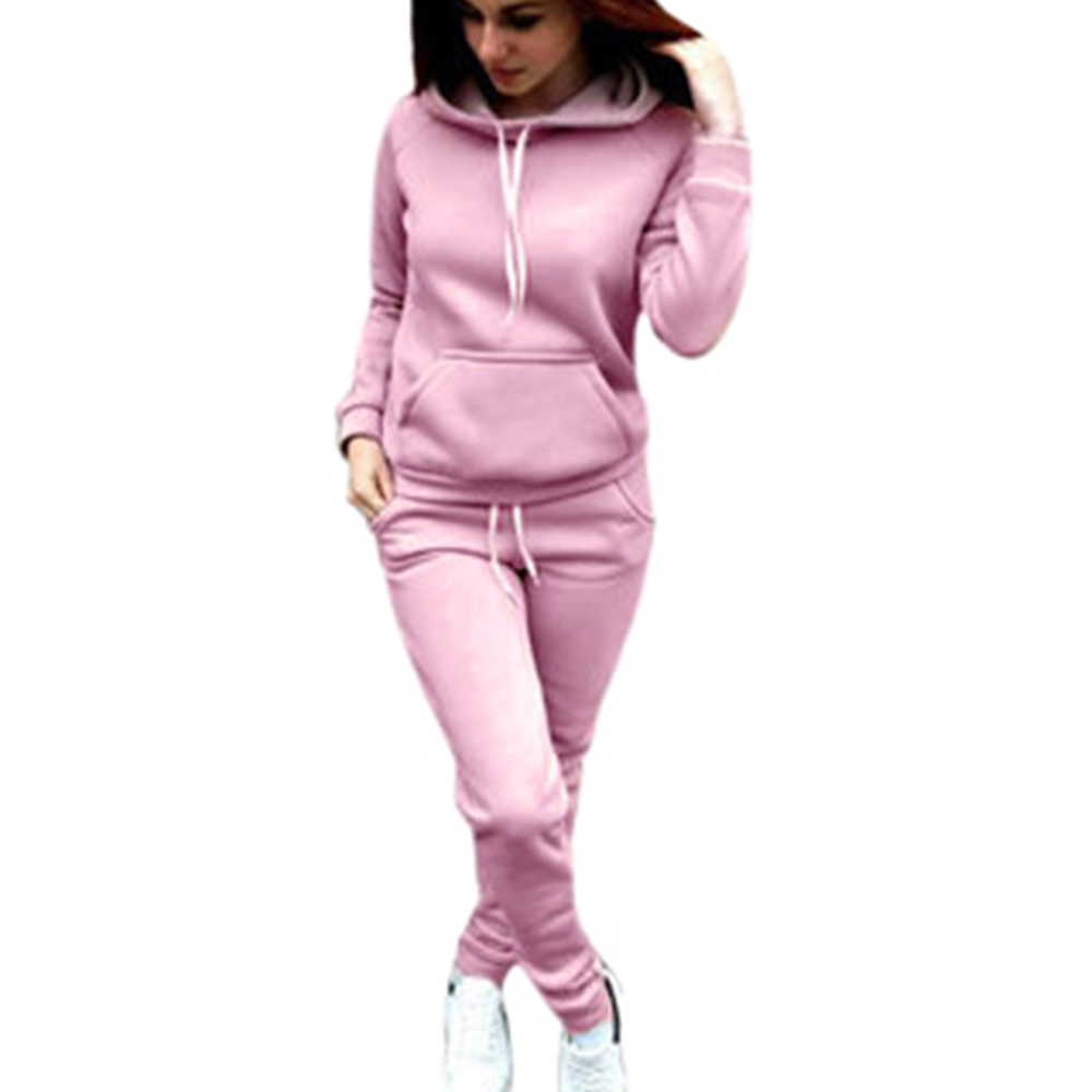 SHUJIN Two Piece Women Hooded Sweatshirt Sets Casual Joggers Hoodies And Drawstring Sweatpants Sets Women Autumn Oufit Sets