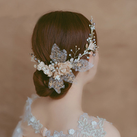 Artificial Fabric Flower Headband Hair Accessories for Bridal Wedding Engagement Headpiece Simulated Pearls Headdress Jewelry
