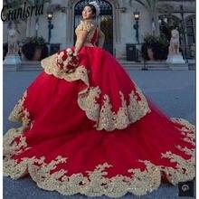 Красные платья vestidos de 15 anos quinceanera с золотой аппликацией
