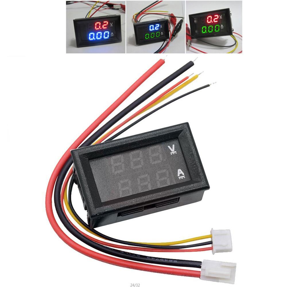Цифровой светодиодный мини-Вольтметр Амперметр постоянного тока 100 в 10 А 50 А 0,28 а дюйма Вольт Амперметр измеритель Амперметр индикатор напр...