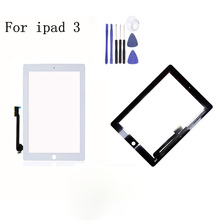 1Pcs Tested New For iPad 3 LCD Outer Touch Screen Digitizer no Home Button Front Glass Panel Replacement With 3Gifts netcosy touch screen digitizer glass panel replacement for ipad 3