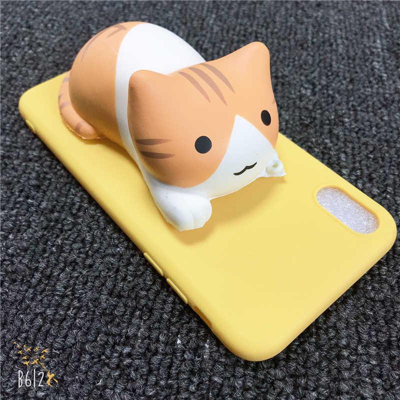 Xiaomi redmi 용 전화 케이스 4 4 5 5a prime 6 pro 6a s2 y2 7 go a2 lite 3d 검은 고양이 장난감 새끼 고양이 키티 소프트 실리콘 커버
