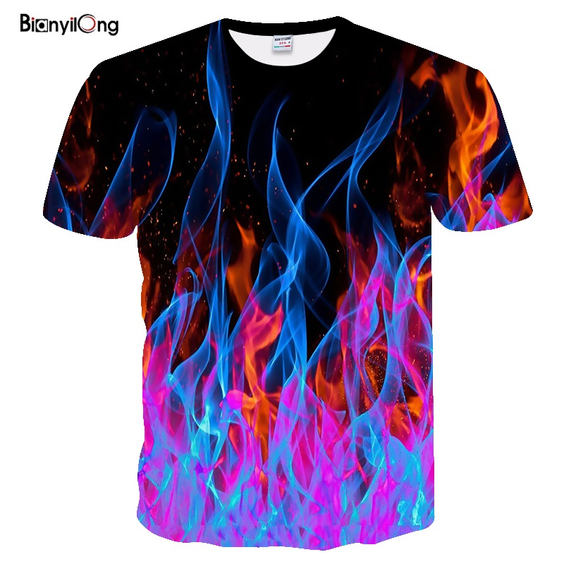 2019 NEW Men T Shirt 3d Blue Red Flaming Tshirt Men Women T Shirt 3d T-shirt Black Tee Casual Top Streatwear Short Sleeve Shirts