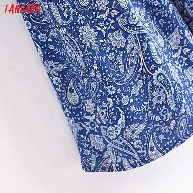 Tangada 2021 Women Print French Style Lace Patchwork Dress Flare Short Sleeve Ladies Long Dress Vestidos 3H239 5