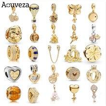 Aouveza nova série de ouro rosa pingente frisado casa balão estrelas do mar contas caber encantos originais pandora prata 925 pulseira jóias