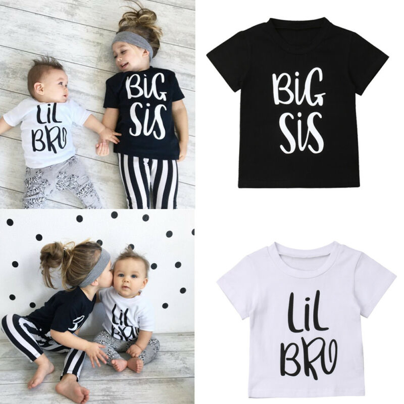0-6T Little Brother Big Sister Kids Baby Boy Girl Cotton T-shirt Summer Short Sleeve Twins Matching Tops Cute Tshirt Tee
