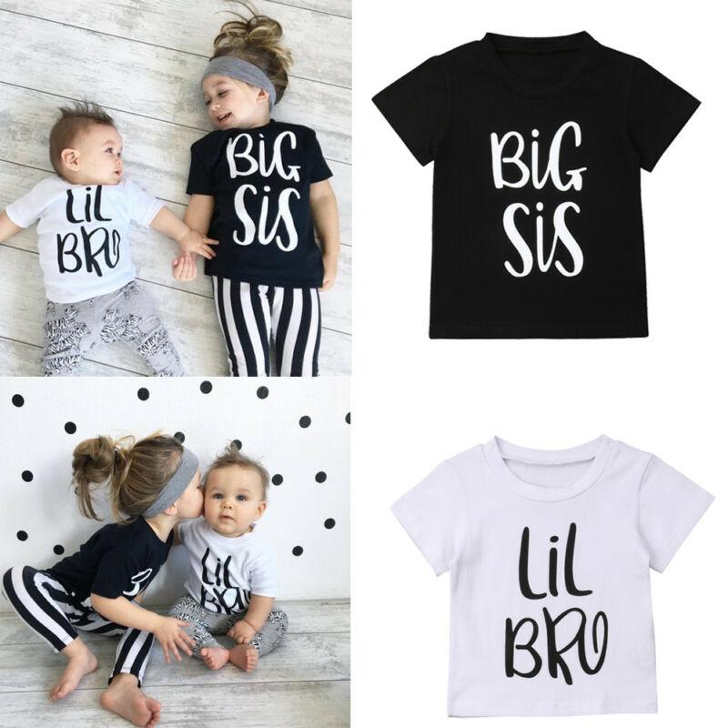 0-6T Little Brother Big Sister Kids Baby Boy Girl Cotton T-shirt Summer Short Sleeve Twins Matching Tops Cute Tshirt Tee