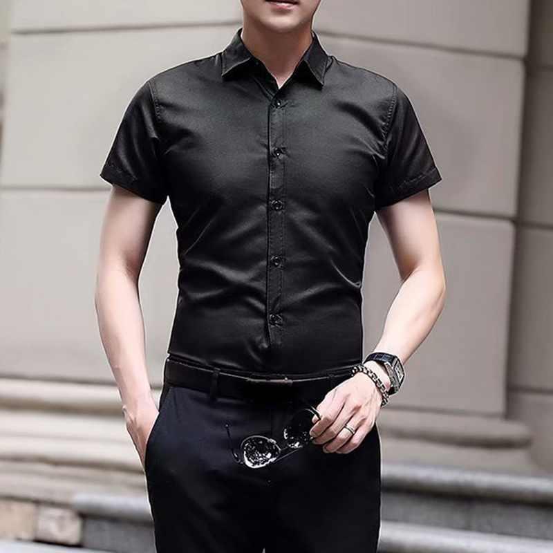 Lasperal 2020 nova moda algodão manga curta camisa confortável puro algodão e linho casual negócio branco preto vestido camisas