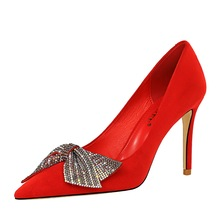 2020 new wedding red high heels fine heel suede shallow mouth pointed rhinestone bow bow shoes cinderella slipper shallow mouth high heels bridal shoes diamond wedding shoes fine with pointed shoes