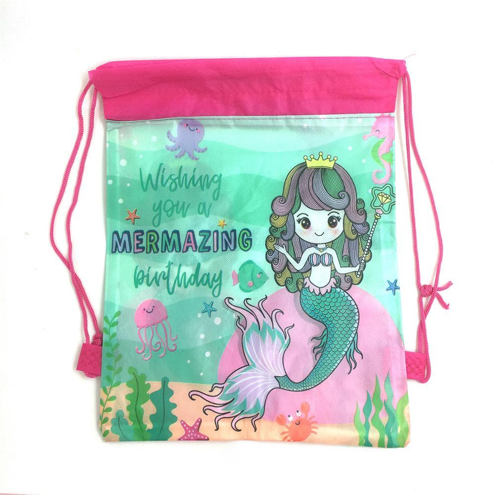 1pcs Mermaid Drawstring Bag For Girls Travel Storage Package Cartoon School Backpacks Children Birthday Party Favors