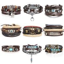 Винтажный Многослойный кожаный браслет в стиле панк с круглыми тибетскими камнями и перьями, мужские браслеты с бусинами и шармами «сглаза...