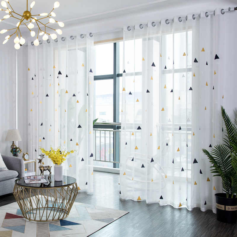 Modern Embroidered Curtain Living Room Balcony Kitchen Curtains