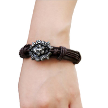 European and American popular lion head wristband New retractable leather bracelet Male and female woven bangle student brecelet