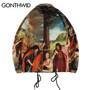 Image 2 - GONTHWID une allégorie de lancien et nouveau Testaments peinture impression coupe vent entraîneurs vestes Streetwear Hip Hop manteaux décontractés