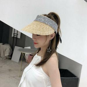 Женская Соломенная Кепка с широкими полями, летняя пляжная Солнцезащитная шляпа на клипсе, однотонная шляпа для тенниса, гольфа, одного раз...