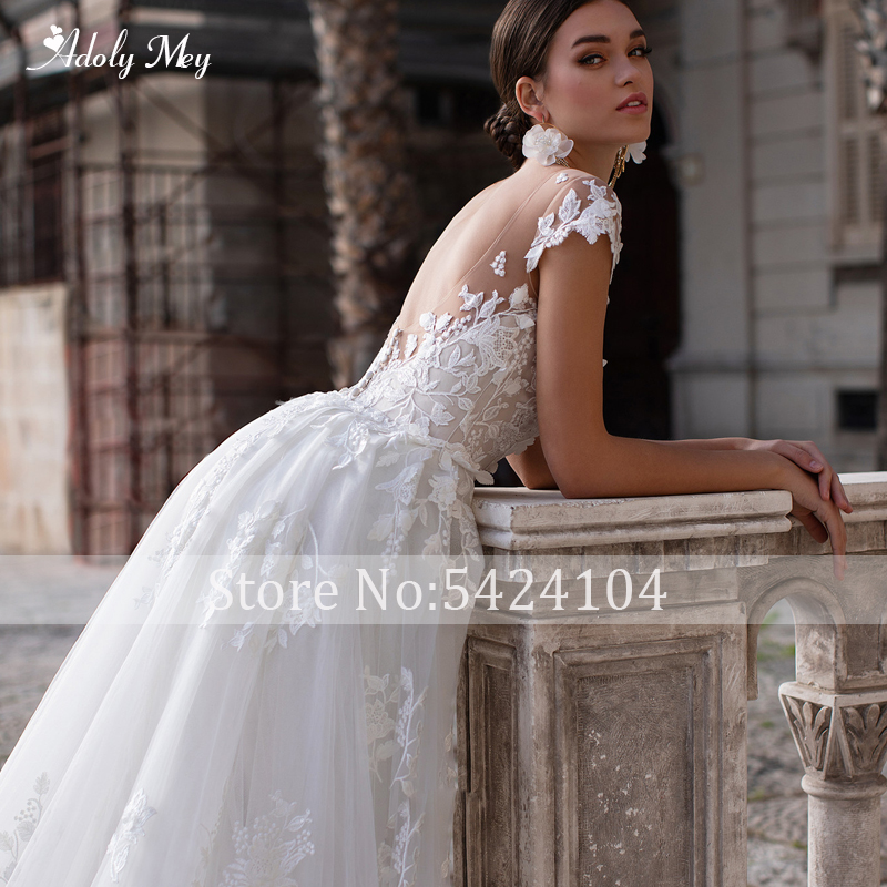 Top SaleWedding-Dresses Detachable-Train Sleeve Mermaid Romantic Adoly Mey Princess Appliques