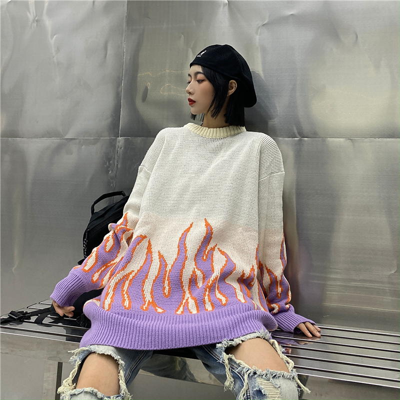 Harajuku Sweater Couple Hip Hop Oversized Knitting Pullover Women Flame Casual Autumn Winter Men Women Loose Fashion Tops Unisex