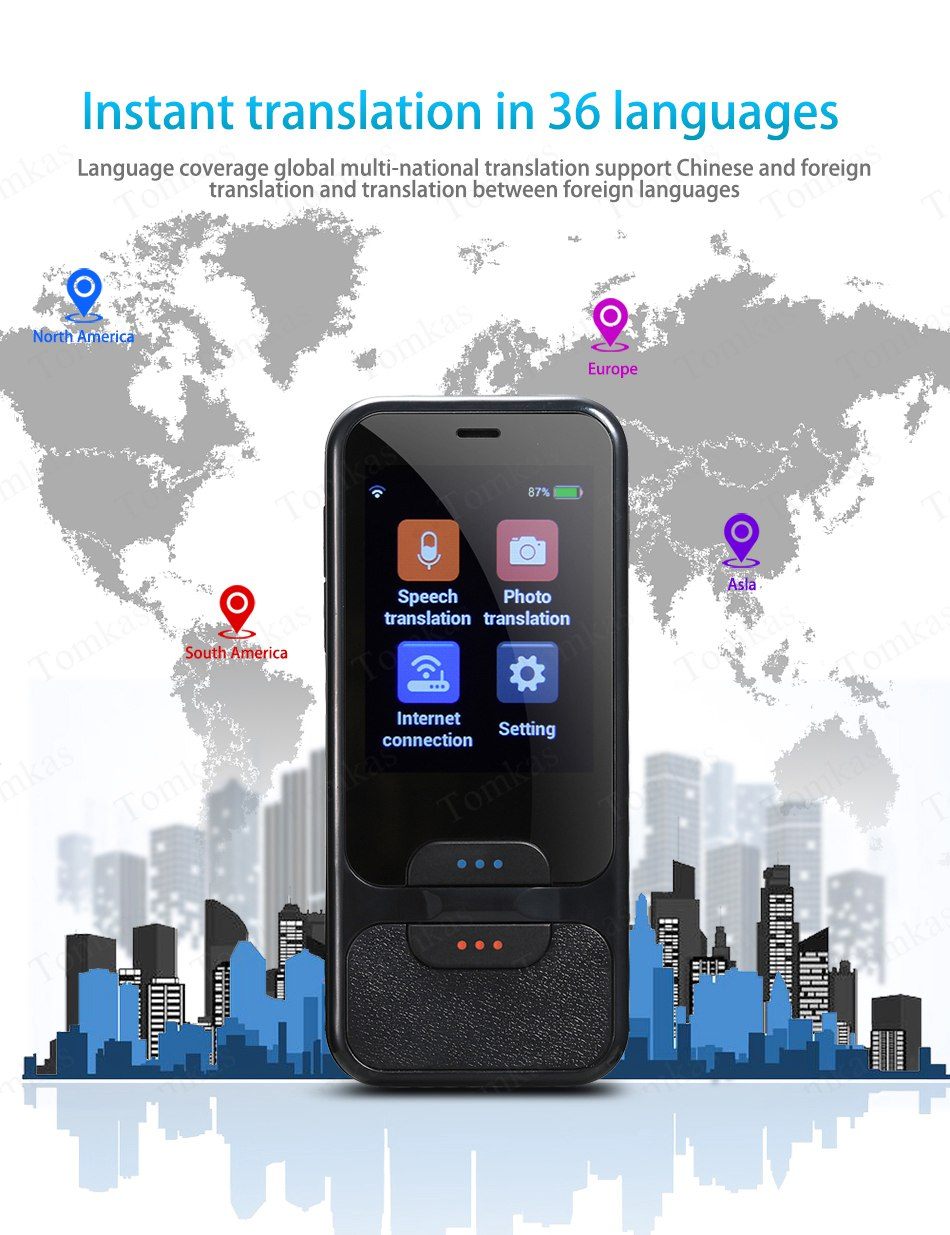 TOMKAS AI Smart Pocket Language Translator with 2.4 Inch Touch Screen and  WIFI for Multi language Voice and Photo Translation in Real Time 8