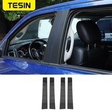 TESIN Carbon Fiber Styling Car Window Pillar Post Protector Molding Trim Stickers for Dodge RAM 1500 2010 2017 Accessories