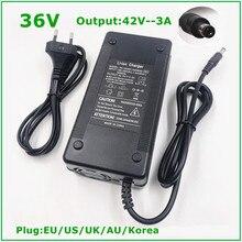 Cargador de batería de iones de litio para bicicleta eléctrica, cargador de batería de litio de 42V y 3A para 10S y 36V, fuerte disipación del calor