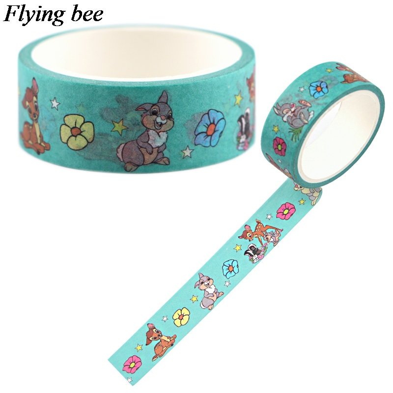Flyingbee 15mmX5m Paper Washi Tape Fawn Cartoon Adhesive Tape DIY Scrapbooking Sticker Label Masking TapeX0696