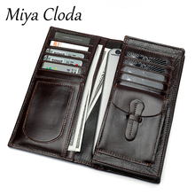 New business retro wallet cowhide card holder card holder multifunctional men's leather long wallet