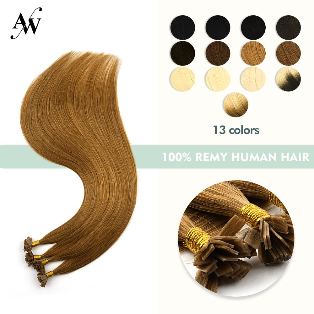 Sensible Aw 24'' 1g/s Pre Bonded Flat Tip Hair Extensions Straight Double Drawn Remy Human Hair Capsules Keratin Fusion Hair