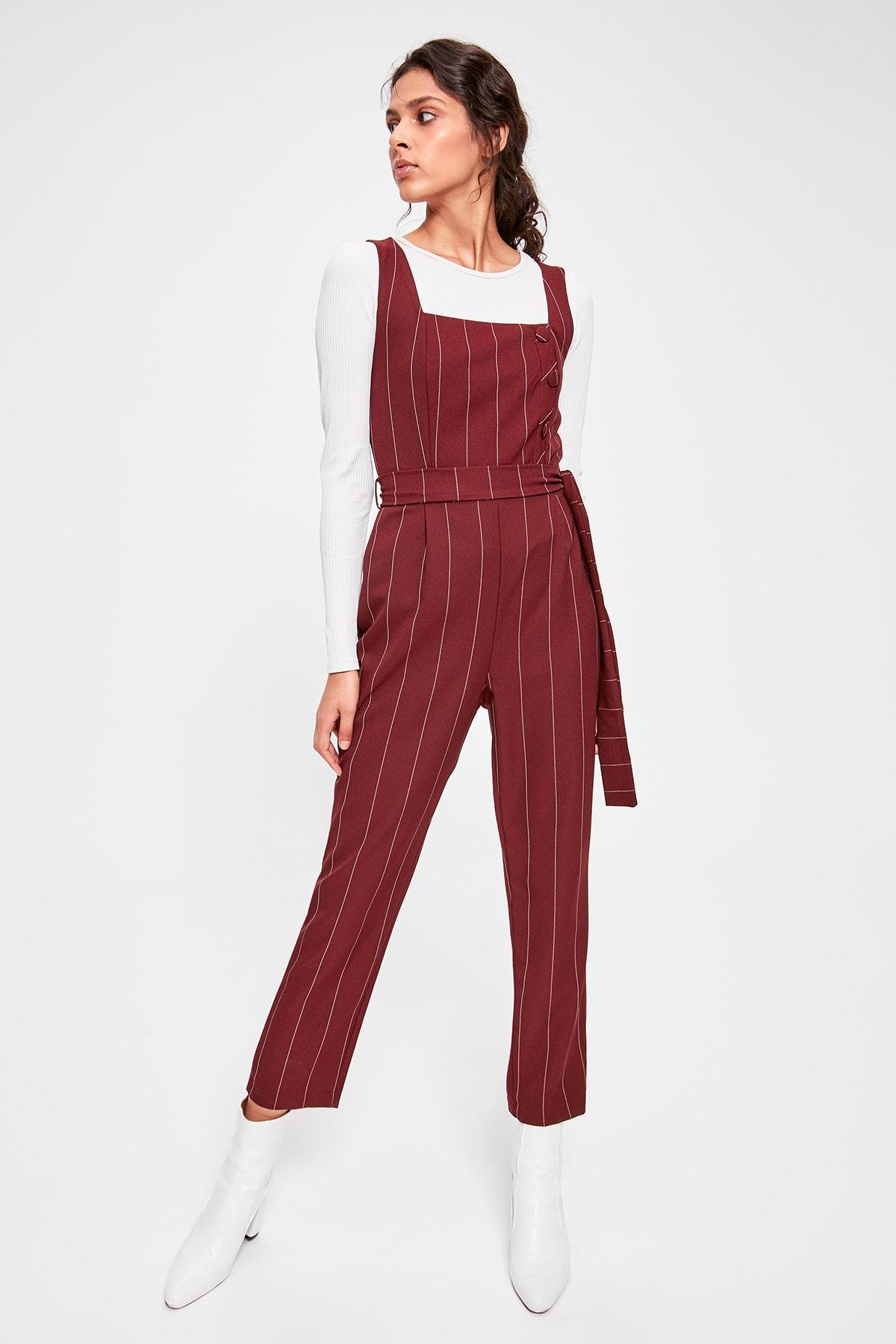 Trendyol Burgundy Belted Striped Jumpsuit TWOAW20TU0023