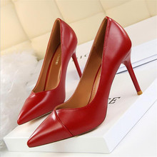 Women High Heels Pointed Toe Women Pumps Spring New Women Shoes Fashion Wedding Shoes Sexy Party Shoes Pu Leather Women Stiletto new fashion bow patent leather women pumps sexy pointed toe high heels women shoes ladies elegant evening party wedding shoes