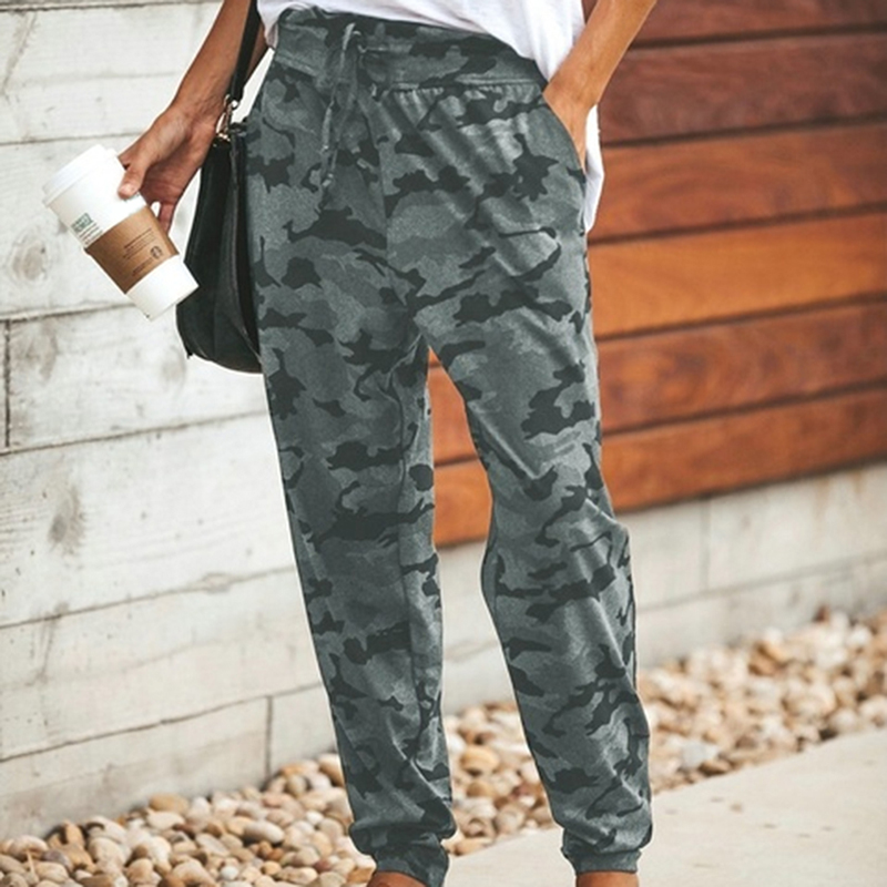 2020 Women Camouflage Pants Waist Lace-up Trouser Camo Casual Cargo Joggers Military Army Harem Trousers Loose Elastic