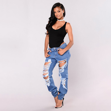 2019 New Fashion Womens Destroyed Ripped Distressed Slim Denim Jeans Boyfriend Sexy Hole Pencil Trousers Summer