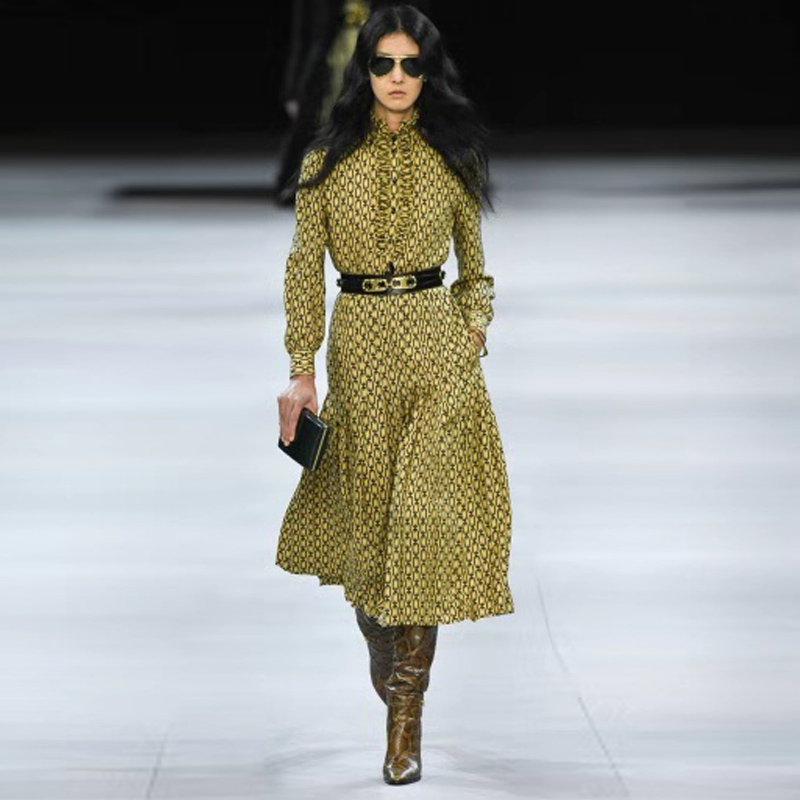 Longue robe piste haute qualité automne hiver nouvelles femmes mode travail fête Vintage élégant à volants imprimer à manches longues robes