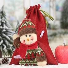 Christmas Santa Sacks Vintage Gifts Bag Linen Cloth Drawstring Treat Ba