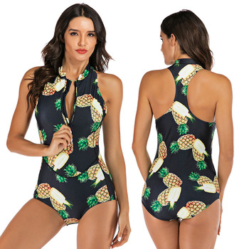 Zippered Front Sports One Piece Swimsuit 6