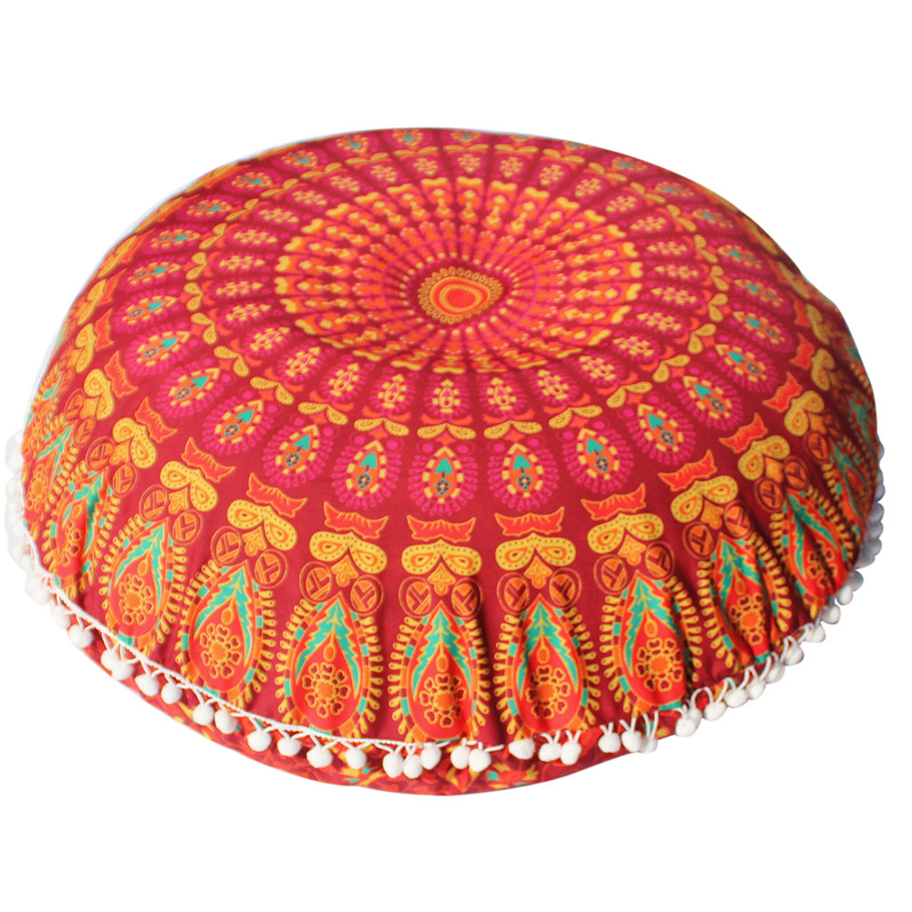 Grand Mandala plancher oreillers rond bohème méditation housse de coussin Pouf 4