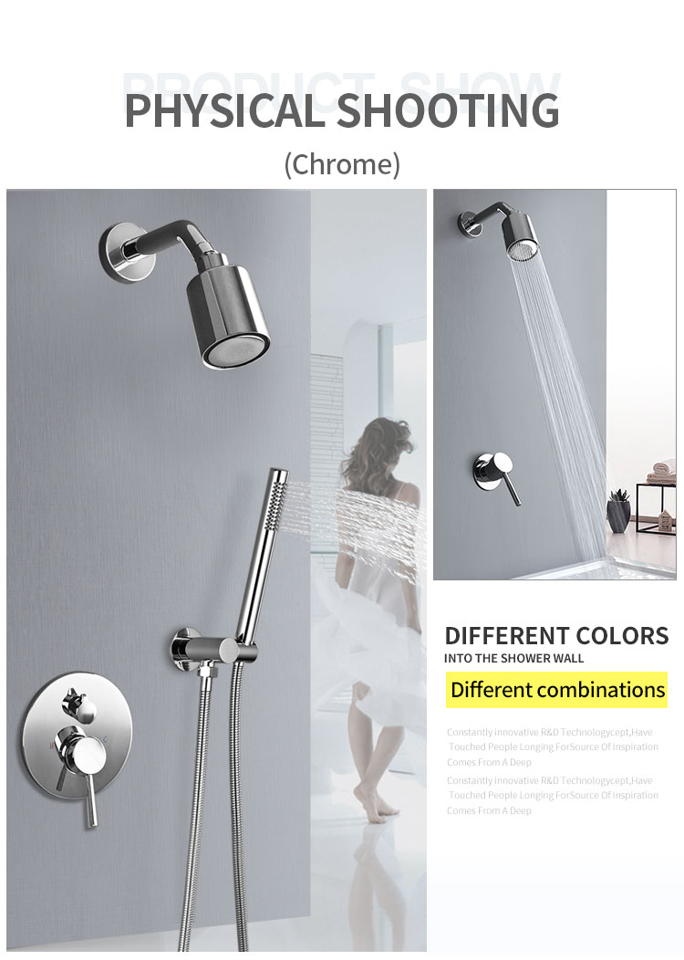 He437792e22224913b37758aa4db73cdcB Wall Mounted Bathroom Top Sprayer Brushed Gold Shower Faucet Set