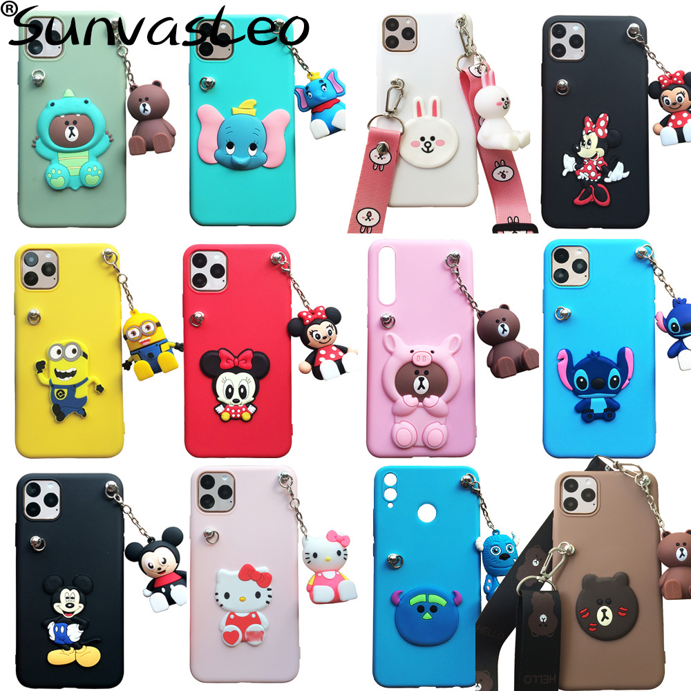 For iPhone 5 6 7 8 Plus X XS XR XS Max 11 11 Pro Max 3D Animal Cute Cartoon Soft Silicone Case Phone Back Cover With Strap Chain